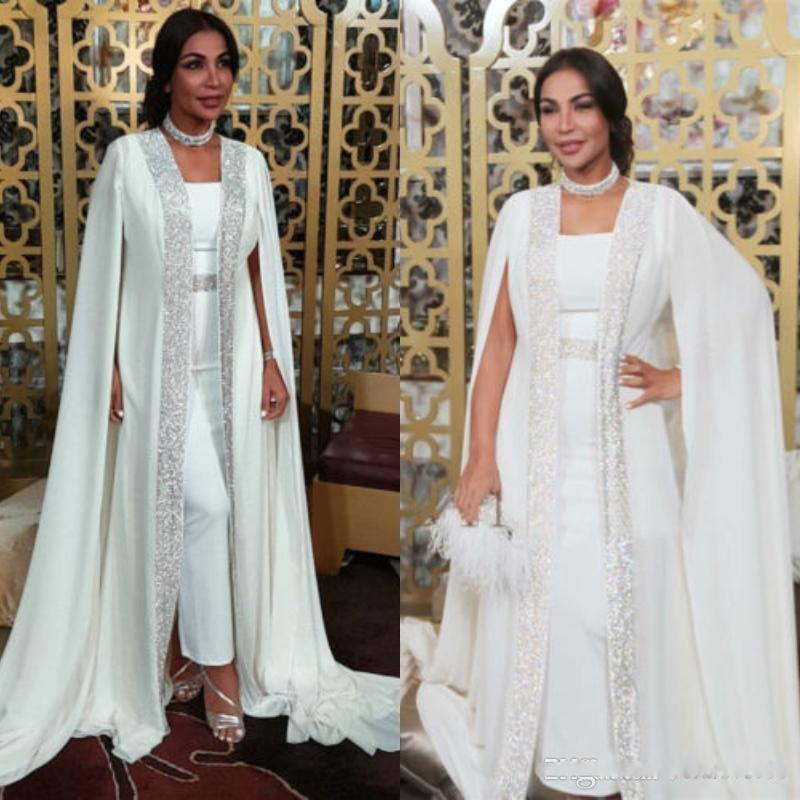 Dubai Muslim Evening Dresses White Sequins moroccan Kaftan Chiffon Cape Prom Special Occasion Gowns Arabic Long Sleeve Dress Evening Wear