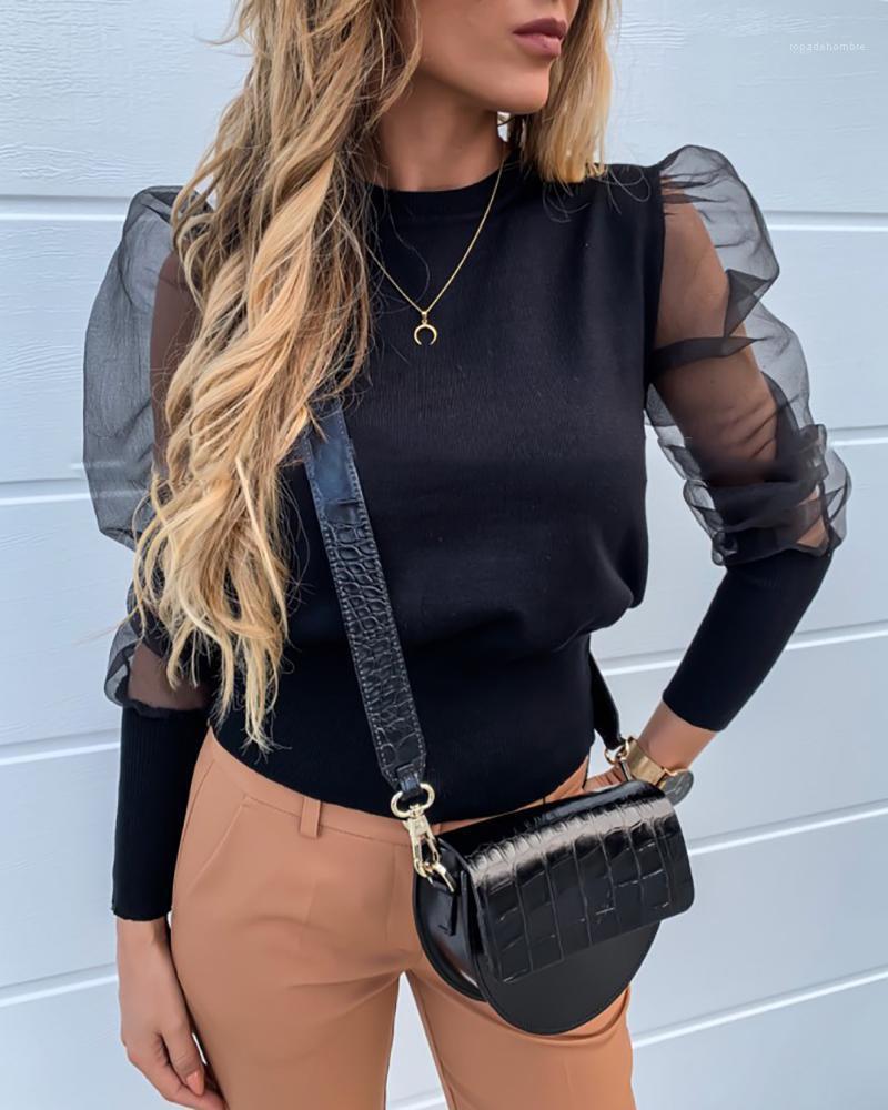 Тенниски вскользь естественный цвет с длинным рукавом тройники Женская одежда Мода Кружева облицованы женские Tshirts Дизайнер Pearl Puff Sleeve
