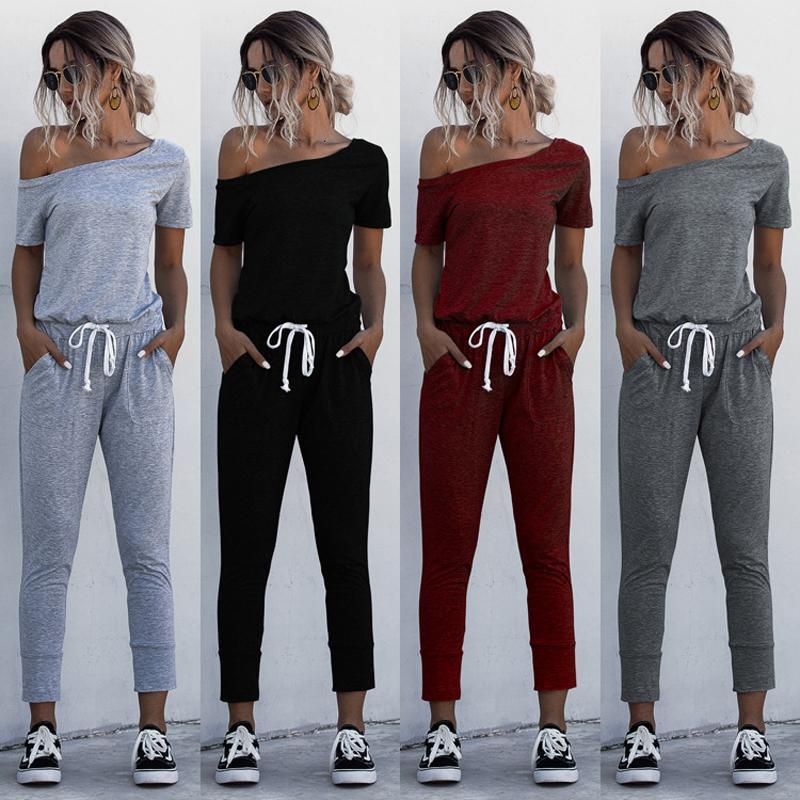 Casual spalle delle donne tute aderente manica corta tuta pagliaccetto Pantaloni