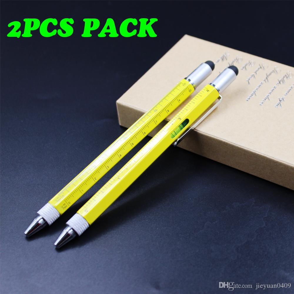 2PCS PACK متعددة الوظائف أداة القلم يتضمن 1 قلم حبر جاف ، طرف ستايلس العالمي ، حاكم ، نوعين من المفكات ، الكتابة متعددة الوظائف Gradienter