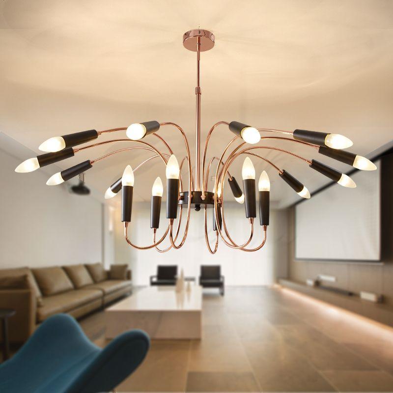 24 Tête moderne Lustre Lampe suspendue Lumière Suspension corps en or blanc noir Salon lumière salle à manger lumineuse Art decotation