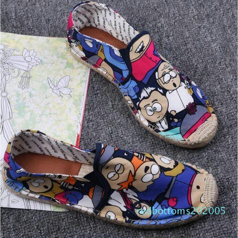 Женщины Повседневная парусиновая обувь мультфильм белье Девушка Эспадрилья Рыбак обувь дамы квартиры Плимсоллы мокасины обувь для вождения LF-5050 r05
