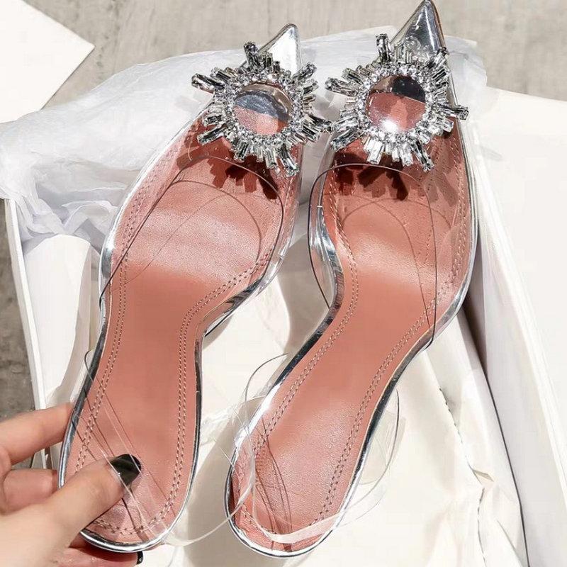 Verano bombas de las mujeres Rhinestone acentuadas atractivas zapatos de tacón alto transparentes boda Mujer Calzado casual señoras del partido del estilete