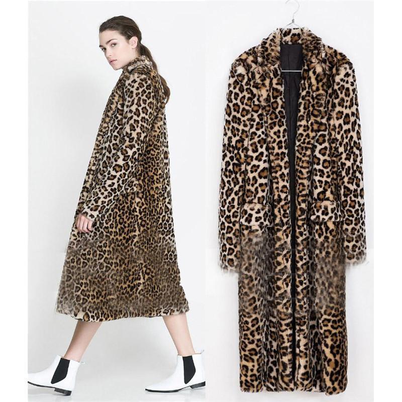 Lanshifei Jeune fille en fausse fourrure Manteau long manteau Pelliccia femme fourrure courte veste Les femmes en Europe X-Long Leopard Veste Faux