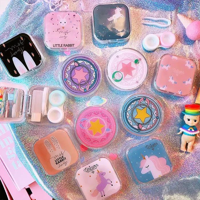 10pcs Fuskarma Cute Cartoon Girl Heart Contact Lens St Tudent Soft Younger Sister Glasses Sakura Beautiful Pupil Box Nursing C19041201