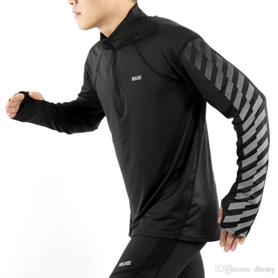 Toptan erkek Doğa Sporları Kuru Fit Koşu Gömlek Uzun Kollu Elastik Yarım Fermuar Gömlek Yansıtıcı Koşu Koşu Giyim