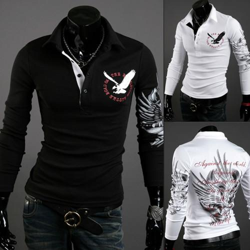 20s designers Men Tops New Autumn Fashion Long Slave Estilo Europeu tatuagem Eagle camisa impressa Silm Fit T-Shirt 3 Cores Comércio por grosso