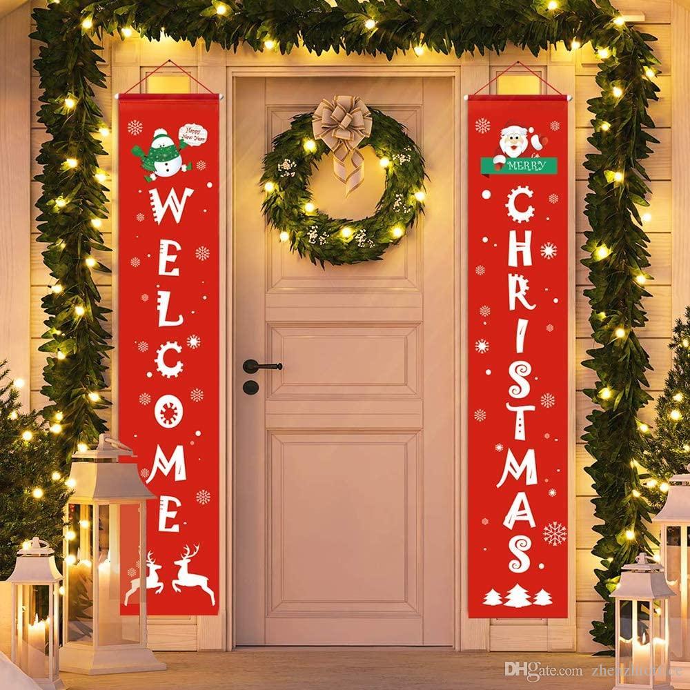 Puerta Banner Feliz Navidad Porche Muestra colgante al aire libre Decoración de Navidad cubierta de Inicio Apartamento, 73.6 '' x 13,7 '', Rojo