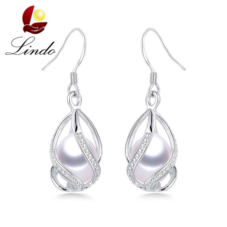 Lindo Hot Selling 925 Sterling Silver Drop Earrings For Women Fashion Cage DIY Natural Freshwater Pearl Jewelry High Quality Y190125