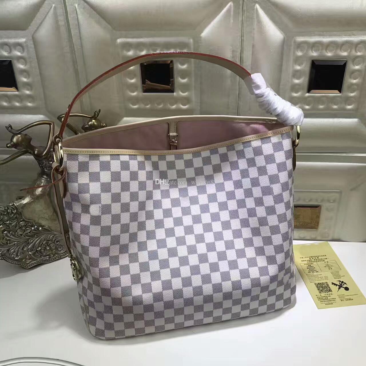 White femmes célèbres Marque cuir véritable sac à main 50156 Sac chaud de vente d'épaule Portefeuilles # 37 sacs de poussière ont 42cm