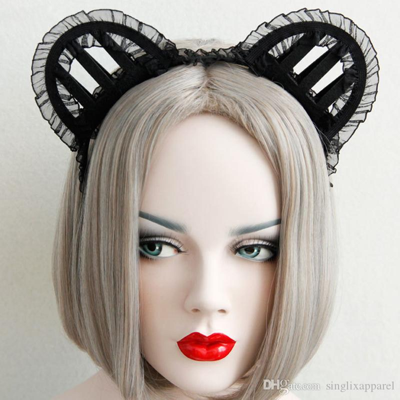 Black Cat Ear Lace Headband Girls Sexy Three-Dimensional Cat Ear Lace Headbands Halloween Jewelry for Ladies