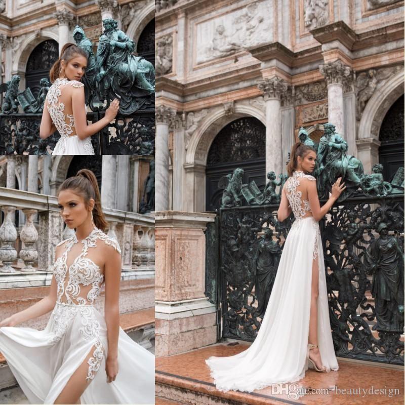 2019 Simple Design Summer Bohemian Chiffon Lace Wedding Dresses High Neck Sheer See-through Applique High Split Beach Bridal Gowns BC1439