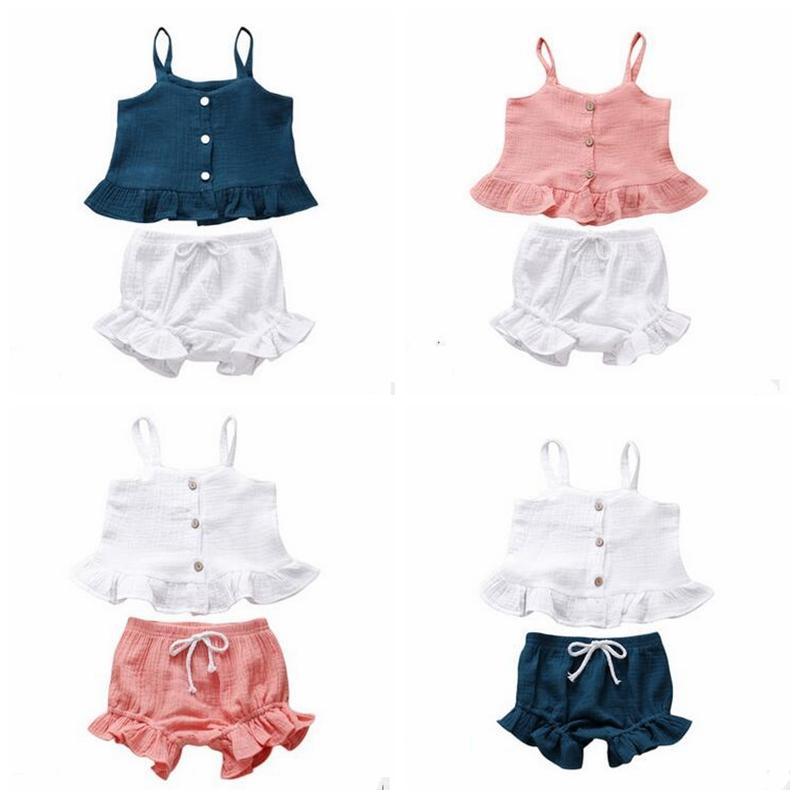 Baby Girls Summer Ruffled Collar Vest Top 1-2Y, Blue Shorts Clothing Set