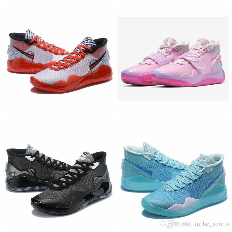 2020 새로운 도착 KD 케빈 듀란트 (12 개) 12S 이모 진주 남성 농구 신발 ZOOM 블랙 무연탄 블루 시선 유튜브 스포츠 스니커즈 상자와