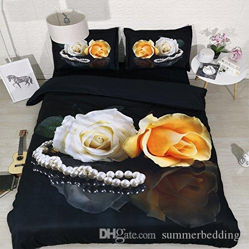Set biancheria da letto floreale nero morbido Copripiumino fiore trapunta Copripiumino fiore fiore Copriletto farfalla Coprispalle Donna Ragazze Colorato rosa Letto Cove