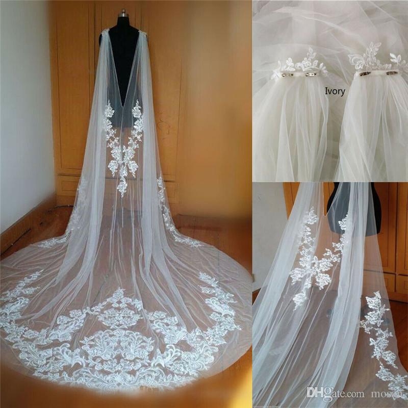 2019 خمر الزفاف كيب الرباط يزين الكتف سترة الزفاف بوليرو الأغطية طويل أبيض العاج مخصص اكسسوارات الستر