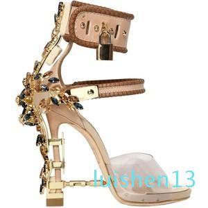 Hot Sale-Metallic Lock Women Rome Diamonds Heels Pumps Rihanna Peep Toe High-heeled Dress Wedding Shoes l13