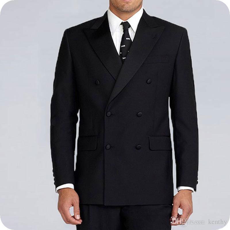 Sıska Siyah Erkekler Kostüm Homme Moda Terno masculino Tasarımları Adam Blazer Ceket Çift Breasted Yaka 2piece Son Coat Pantolon Peaked Suits