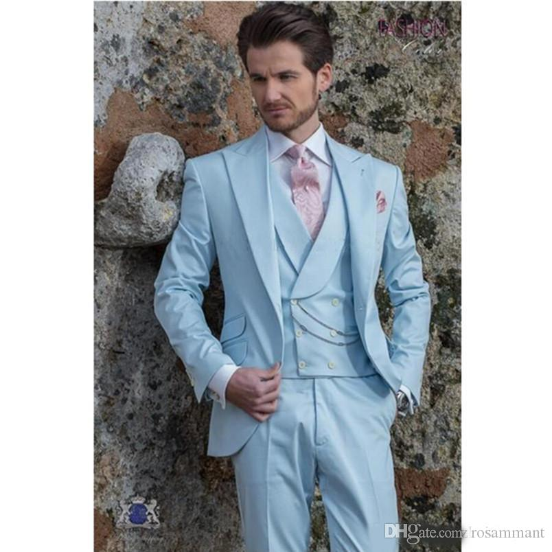 Light Sky Blue Groom Tuxedos Custom Made Peak Lapel Groomsmen Wedding Tuxedos High Quality Mens Prom Suits (Jacket+Pants+Vest)