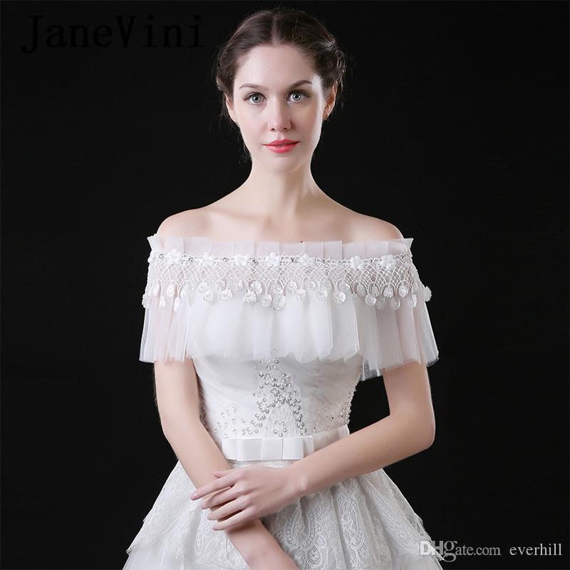 JaneVini 2019 Brautjacke 레이스 웨딩 케이브 Bridal Boleros 진주 꽃 여름 스톨 보트 넥 Tulle Bride Jacket Mariage