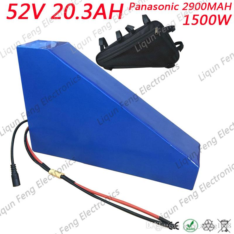 US EU Free Customs Tax Powerful eBike Triangle Battery Pack 52V 20Ah 1500W Electric Bicycle Lithium Battery fit Bafang BBS03.