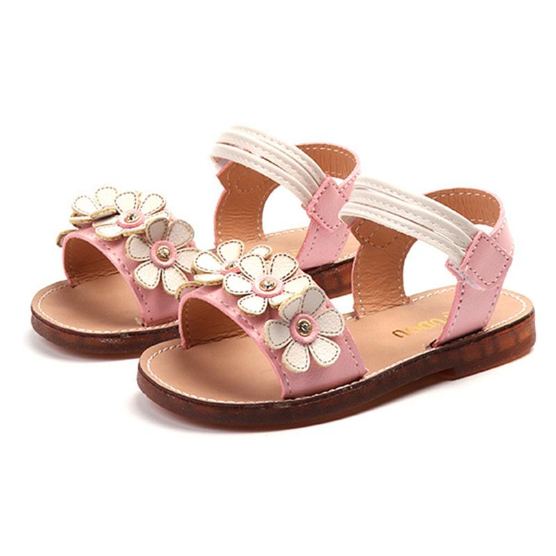 Children Shoes For Girls Summer Sandals Baby Girl Flower Soft Bottom Shoes 1-8 Years Old Kids Beach Sandals