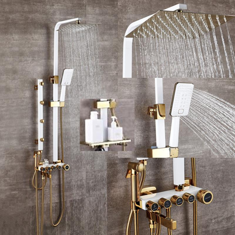 2021 Bathroom Luxury White Golden Showerset With Bidet Shower With Shelf Gold Shower Set Bathroom Shower Faucet Bathtub Faucet Sets From Bathroomfaucet 162 32 Dhgate Com
