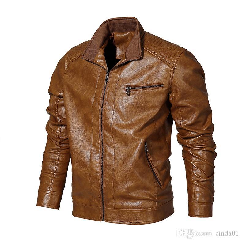 Jaqueta masculina masculina macho jaqueta de couro macho macho casual cor sólido fino casaco vintage casacos