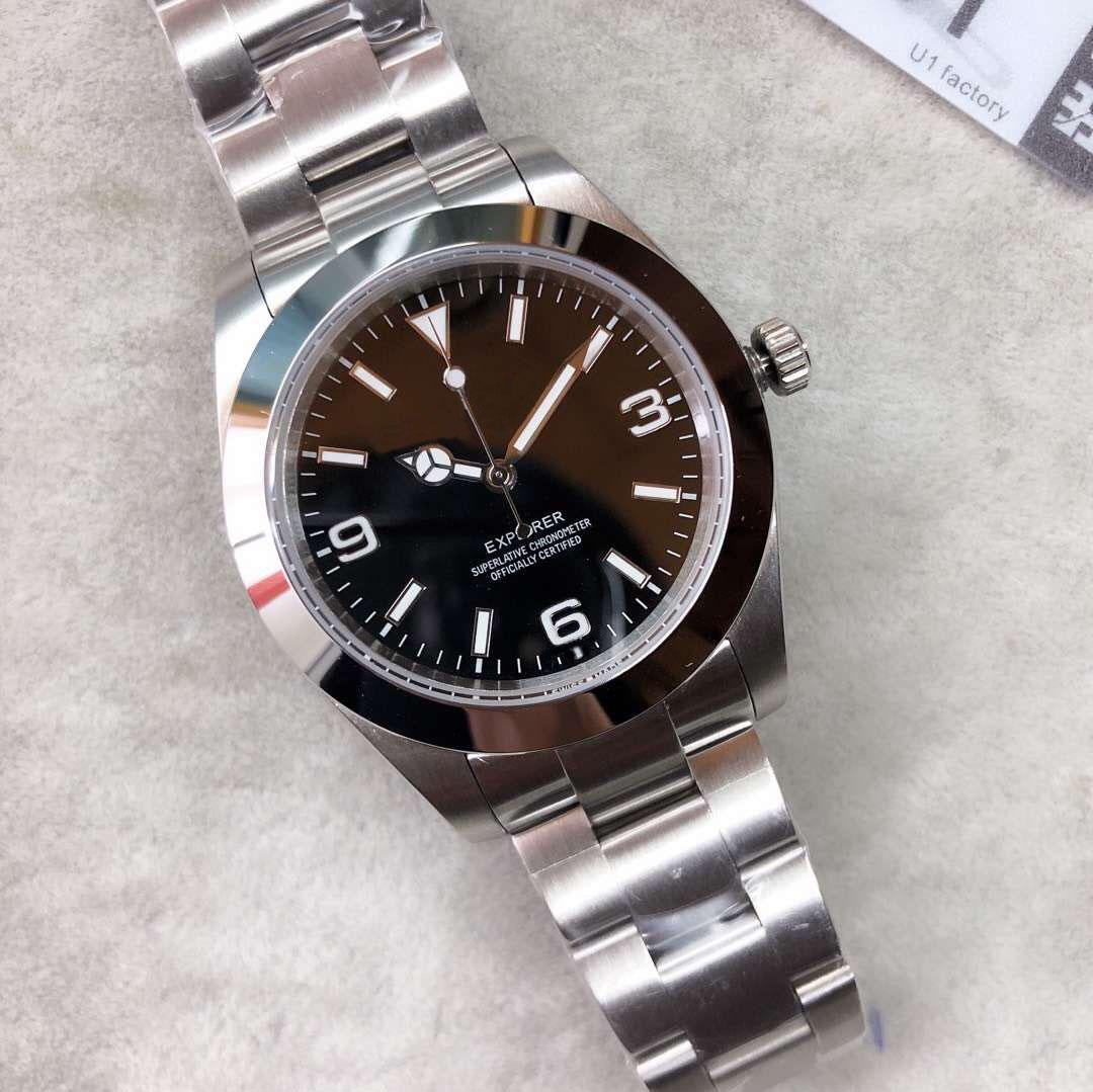 U1 مصنع آسيا 2813 الأزياء 40MM المستكشفون الرجال التلقائي الميكانيكية ووتش حركة ساعات المعصم ساعات عادية ساعة اليد