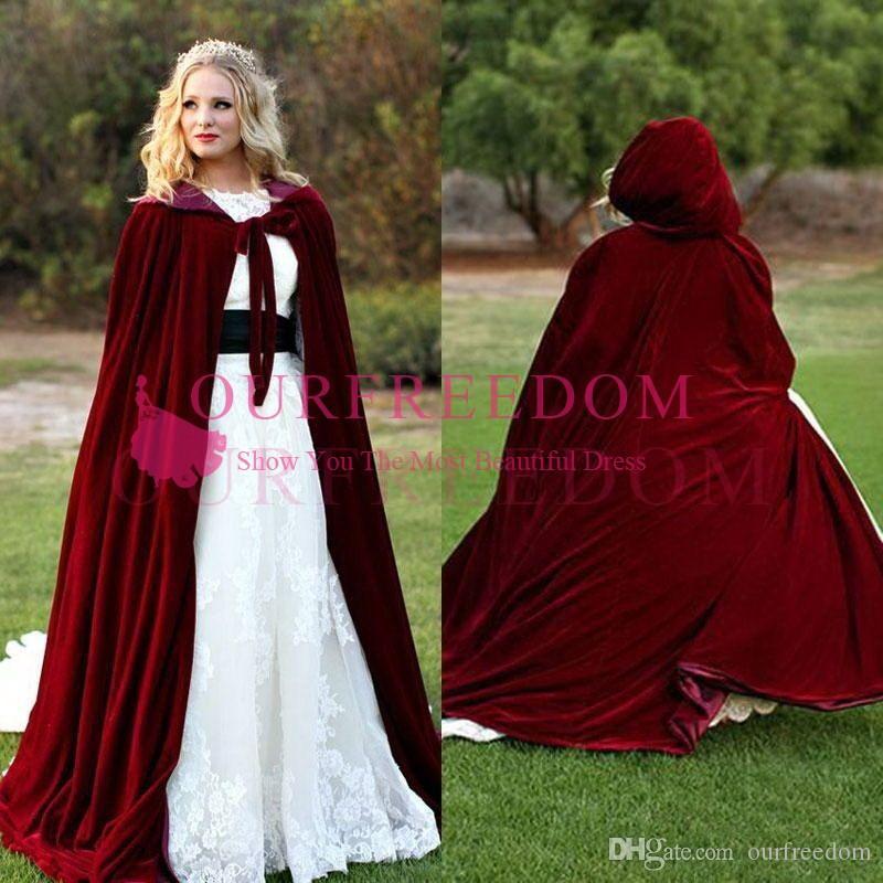 2020 Borgonha De Veludo Com Capuz Casaco de Casaco De Casamento Vampiro Wicca Robe Gótico Quente Ao Ar Livre Capa Medieval Larp Cosplay Cape Mulheres Casamento Jac