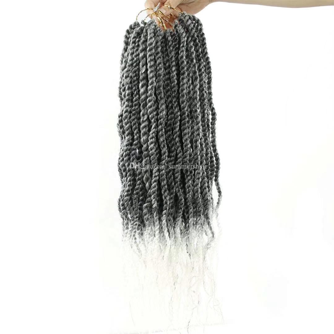 Sénégal Twist Crochet Tresses cheveux Tresses de cheveux synthétiques vague Ends bouclés Kanekalon Ombre Crochet Extensions cheveux 6Packs / Lot