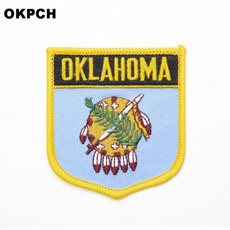 U.S.A Oklahoma State Iron On Badge Ropa bordada Badge Para Ropa Pegatinas Prenda 1pcs 6 * 7cm