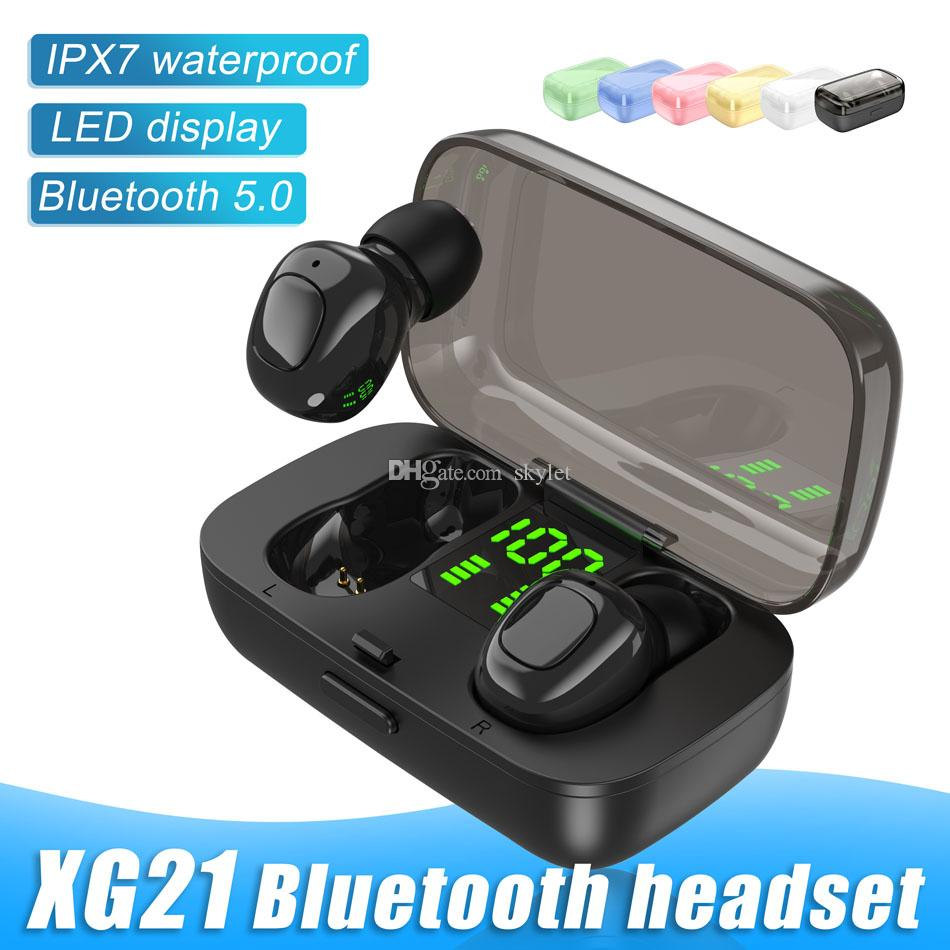 XG-21 Portable Bluetooth Earphones TWS Wireless Earbuds LED Digital Power Display Waterproof IPX5 with Retail Box
