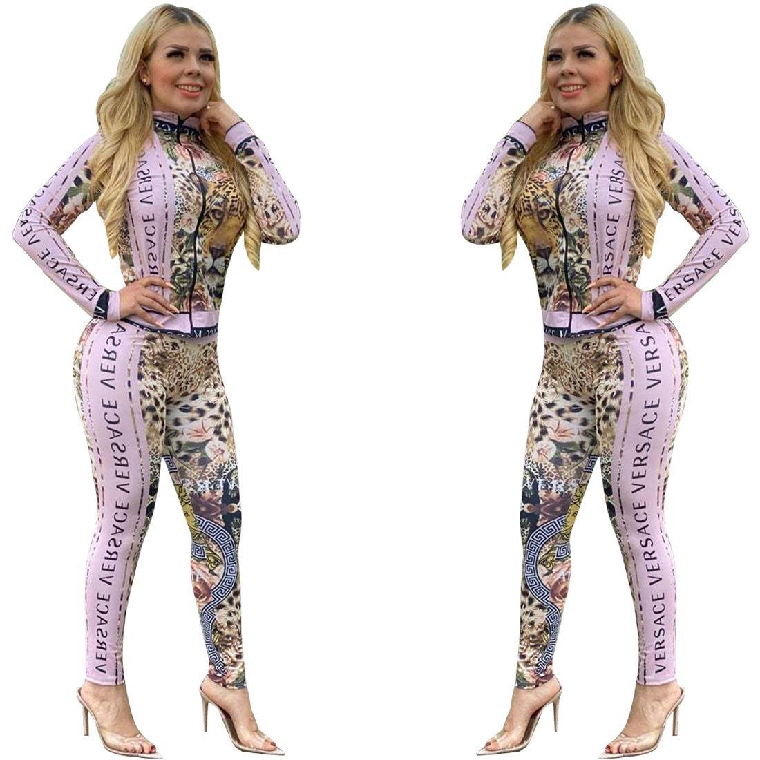 juegos del ocio de las mujeres europeas y americanas destacados leopardo de impresión de dos piezas traje de chaqueta