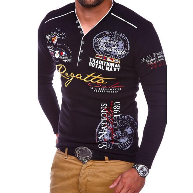 Luxury Designer Mens Polo con lettere Moda Polo per Uomo di marca T-shirt manica lunga Mens Top Abbigliamento 4 colori S-3XL