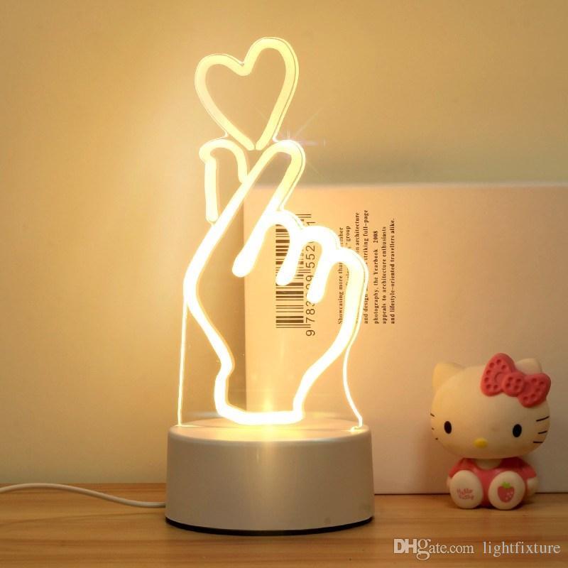 Luci notturne comodino USB Carica 3D Lampada notturna Bambino da camera da letto da camera da letto Lampada da tavolo LED Dono tavolo creativo regalo di compleanno per bambini