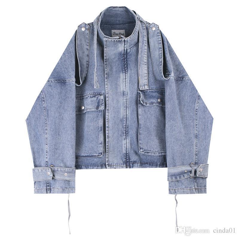 Herren-Jacken Art und Weise klassische Jeansjacke große Tasche Schnürsystem Bandage Entwurf Gewaschene Straße Kleidung lose Jacke M-XL