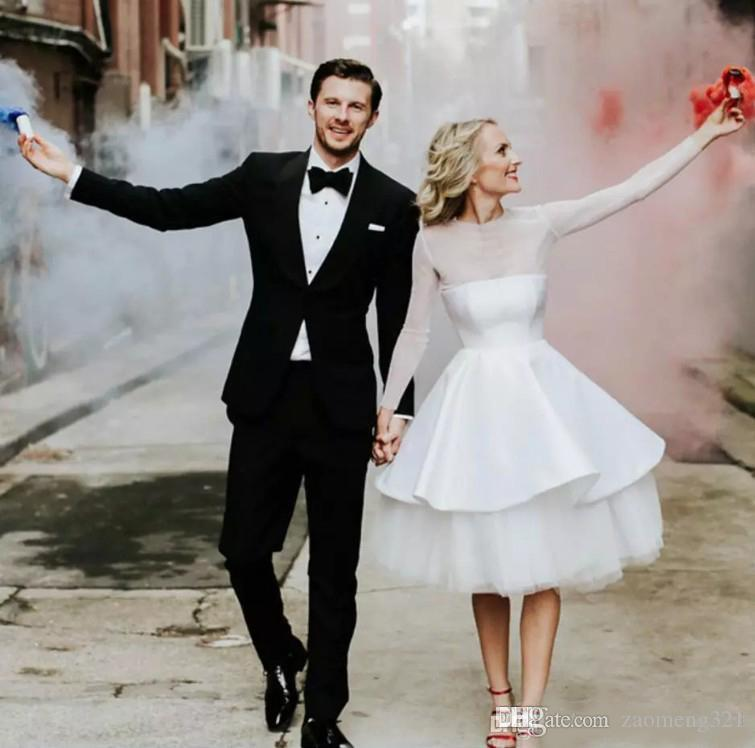 Modest Sheer Illusion Long Sleeve Short Wedding Dresses Cheap Knee Length Country Garden Beach Casual Bridal Gowns Custom Made