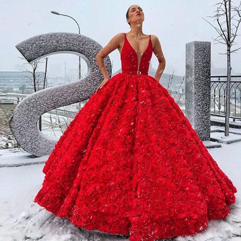 2020 Bola Flores Modern Spaghetti 3D Vestido Prom Dresses V profundo Neck Rose Flor Com Sash vestido de noite vestido longo celebridade