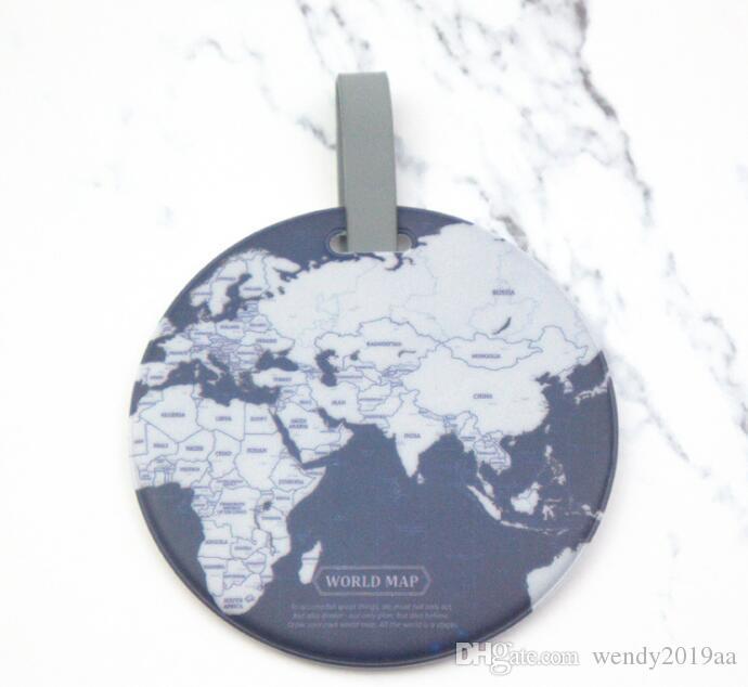 Bolsa de piezas de equipaje de la etiqueta global Mapa de sílice Maleta ID Dirección Titular Identificador de embarque Etiquetas portátiles accesorios de viaje