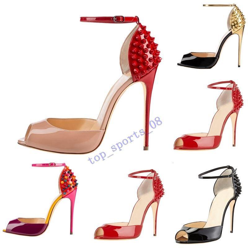 quente 2020 new moda Rebites Salto Alto Vestido Peep Toes Sapatos Super High Heel Sandals cravado Studded Red inferior bombas de tamanho 10 centímetros 34 -42