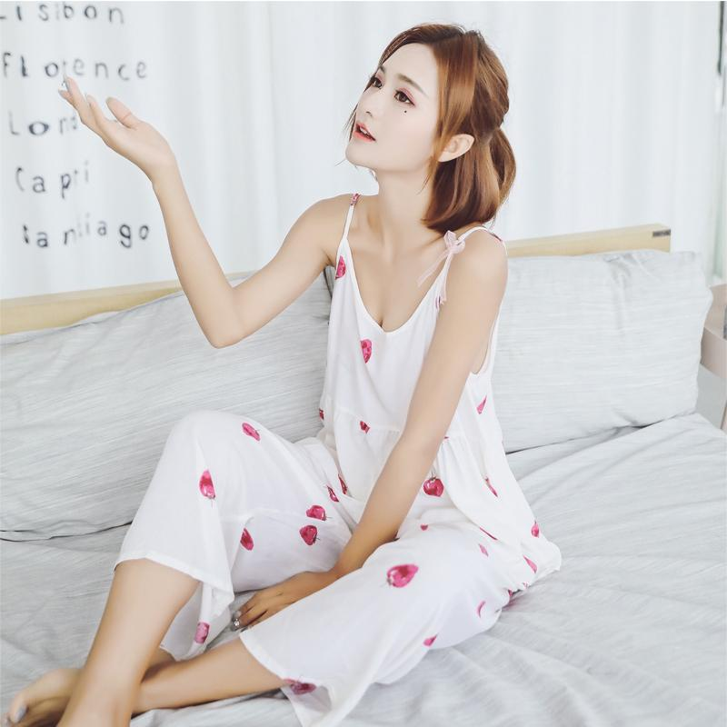 Sanderala Sexy лето женщин хлопок пижама Sexy Пижама ремень Sleep Lounge Пижама рукава Nighty наборы Холтер верхней и Лонг