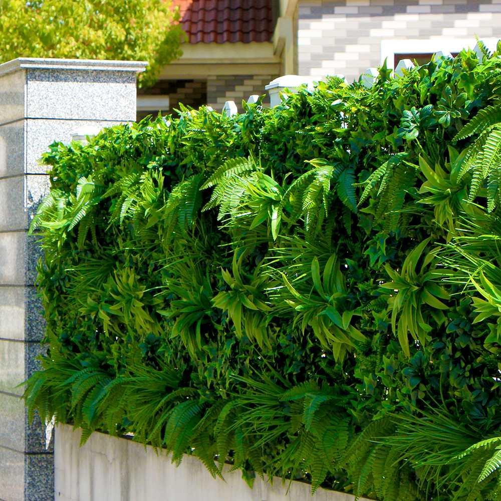 Paredes planta artificial al aire libre Hojas Valla 1x1m UV Prueba de bricolaje Jardín Vertical Pared de la hiedra paneles de la pantalla Backyards Decoración