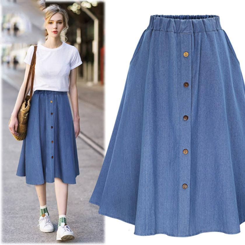 2020 Skirts For Women Long Skirt Fashion Korean Preppy Style Women Solid Color Nature Waist Female Big Hem Casual Button Jean Skirt B81811a From Lixlon07 17 62 Dhgate Com