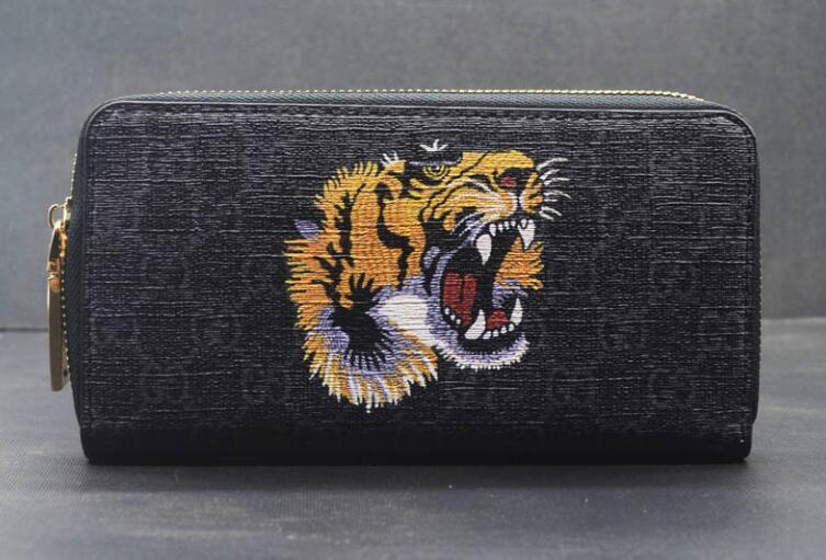 Spring classic tiger head men wallet long business high-end clutch leather zipper youth student wallet free shipping