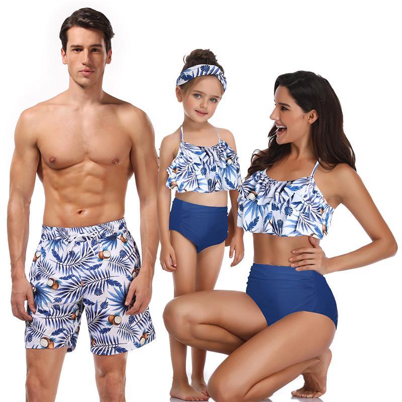Combinando Suit Família de banho Pai Mãe Filho Filha Bikini Fatos de banho para Dad Mom Meninos menina Crianças Kid Praia Curto Swimwear