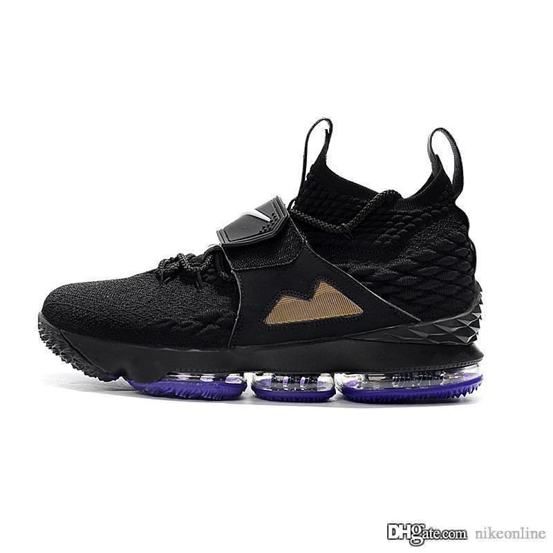 Cheap new Men Kith X Lebron 15 Diamond Turf low tops basketball shoes Bred Black Red White Gold Christmas sneakers boots with box for sale