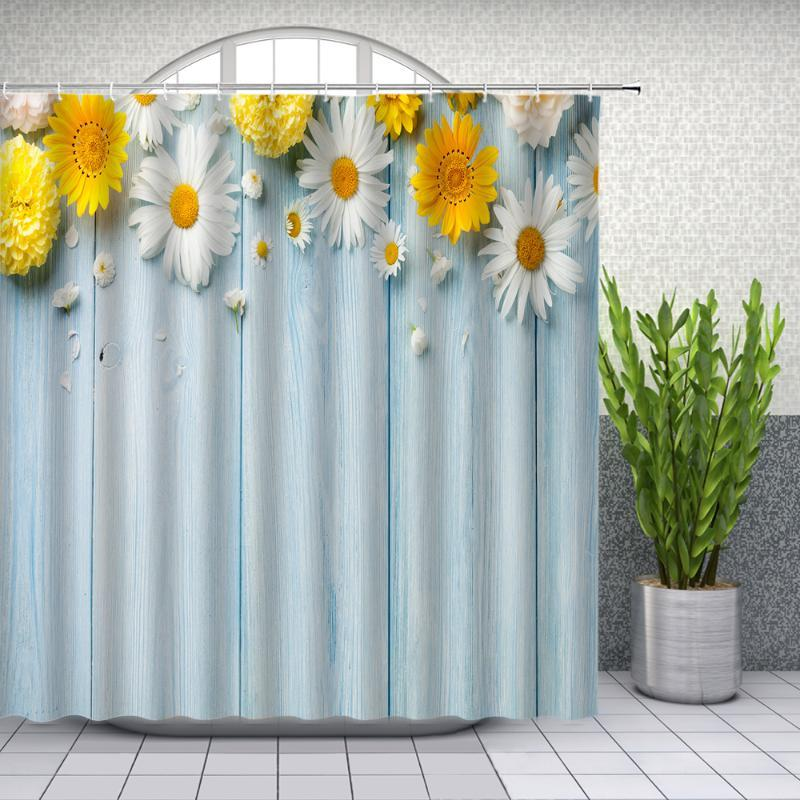 Fiori Tende da doccia fresca Daisy Bianco Giallo Blu di legno Scheda Bagno Decor impermeabile cortina di stoffa Set Cheap