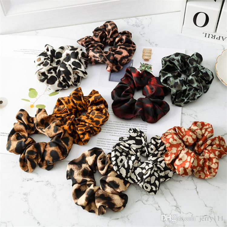 Girl hair bows 9 Colors Girls Leopard Color Cloth Elastic Ring hair accessories Ponytail Holder hairband Rubber Band Scrunchies JY774
