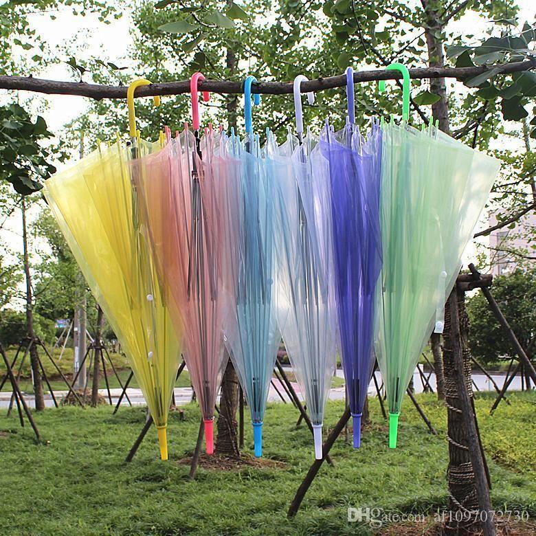 Lang Griff Transparent Regenschirm Schwarz-Eisen-Bome (Rust-Proof) Hot Jelly Transparent Werbung Umbrella Automatische Regen Cover Sonnenschirm